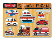 Melissa & Doug Vehicles Sound Puzzle - Wooden Peg Puzzle With Sound Effects