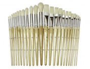 Preschool Brush Set, Sizes 1-12, Natural Bristle, Flat; Round, 24/Set
