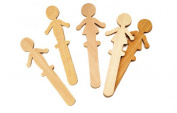 """People-Shaped Wood Craft Sticks, 5 3/8"""", Wood, Natural, 36/Pack"""