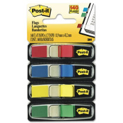 3M Company MMM6834 Post-It Smaller-Size Flags Standard Colors 4 Per Pack