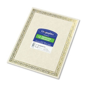 Foil Stamped Award Certificates, 8-1/2 x 11, Gold Serpentine Border, 12/Pack
