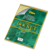 Docket Wirebound Ruled Pad w/Cover, Legal Rule, Ltr, Canary, 70 Sheets