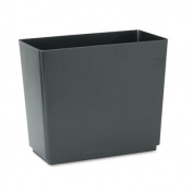Designer 2 Wastebasket, Rectangular, Plastic, 6.5gal, Black