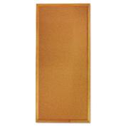 Classic Slim Line Cork Bulletin Board, 12 x 36, Oak Finish Frame