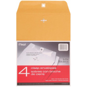 Clasp Envelope, 9 x 12, 24lb, Kraft, 4/Pack