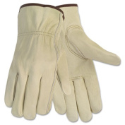 Economy Leather Driver Gloves, Large, Cream, Pair