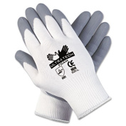 Memphis Glove 9674L Ultratech Foam Seamless 15 Gauge Nylon Knit Gloves with Straight Thumb, Grey/White, Large, 1-Pair