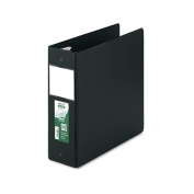"Clean Touch Antimicrobial Locking Round Ring Binder, 11 x 8-1/2, 4"" Cap, Black"
