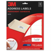 3M Permanent Adhesive Address Labels, 2.5cm x 6.7cm , Inkjet, White, 750 per Pack