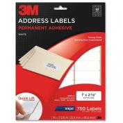 3M Permanent Adhesive Address Labels, 2.5cm x 6.7cm , Inkjet, White, 750 per Pack