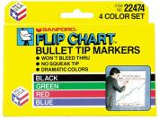 Flip Chart Markers, Bullet Tip, Four Colors, 4/Set