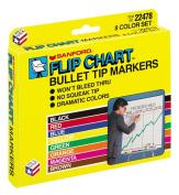 Flip Chart Markers, Bullet Tip, Eight Colors, 8/Set