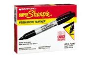 Sharpie 33001 Super Permanent Marker, Black, 12-Pack