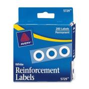 "Dispenser Pack Hole Reinforcements, 1/4"" Diameter, White, 200/Pack"