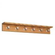 Safco Products Contempo Wood Wall Coat Rack, 6 Hook, Medium Oak, 4222MO