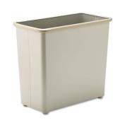 Fire-Safe Wastebasket, Rectangular, Steel, 27.5qt, Sand