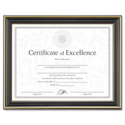 Dax N2709N6T Gold-Trimmed Document Frame with Certificate, Wood, 8-1/2 x 11, Black
