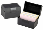 Plastic Index Card Flip Top File Box Holds 300 3 x 5 Cards, Matte Black