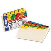 Laminated Index Card Guides, Alpha, 1/5 Tab, Manila, 3 x 5, 25/Set