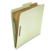 Pressboard Classification Folder, Letter, Six-Section, Gray-Green, 10/Box