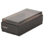 Business Card File, Metal/Plastic, 4 1/4 x 8 1/4 x 2 1/2, Black/Smoke