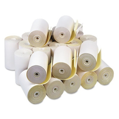 "PM Company 08785 Two-Ply Receipt Rolls- 4-1/2"" x 90 ft- White/Canary- 24/Carton"