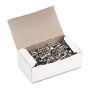"""Aluminum Head Push Pins, Aluminum, Silver, 3/8"""", 100/Box"""
