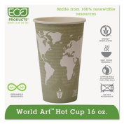 World Art Hot Cups, 16oz, Seafoam Green, 100/Pack, 10 Packs/Carton