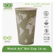 World Art Hot Cups, 16oz, Seafoam Green, 100/Pack, 10 Packs/Carton