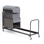 "Folding Chair Cart, 25-Chair Capacity, 21"" x 6 ft, Black"