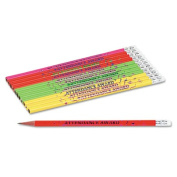 Moon Products 7910B Decorated Wood Pencil Attendance Award HB No. 2 Assorted Barrel Colors Dozen