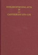 English Episcopal Acta 28 Canterbury 1070-1136