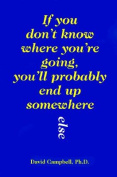 If You Don't Know Where You'RE Going, You'LL Probably End up Somewhere Else