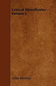 Critical Miscellanies - Volume I