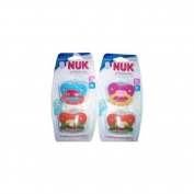 Nuk Orthodontic Silicone Pacifiers, Size 2, 6-18 Months (Colours May Vary), 2 ea