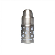 Nine Ounce Wide Mouth Stainless Steel Baby Bottle in White Dots