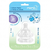 Momo Baby Wide Neck 2-Pack X-Cut Silicone Nipples