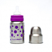 organicKidz Wide-Mouth Baby Bottle, Lavender Dots, 270ml