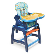 Badger Basket 00939 Envee Baby High Chair With Playtable Conversion- Blue-Orange