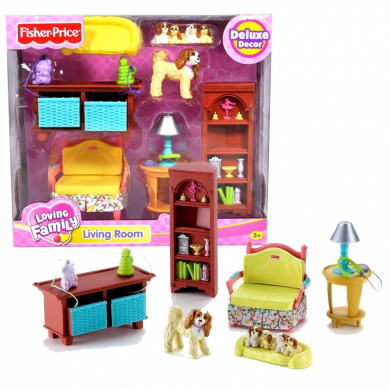 Fisher price loving family dollhouse furniture set living room by fisher price shop online for Fisher price loving family living room