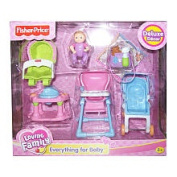 Fisher Price Loving Family Dollhouse Furniture Set - Everything for Baby