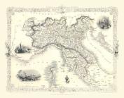John Tallis Map of Northern Italy 1851