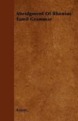 Abridgment of Rhenius' Tamil Grammar