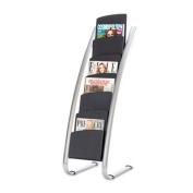 Literature Floor Display Rack, Eight Pocket, 22.2w x 18.4d x 36h, Black/Steel