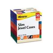 Slim CD Case, Assorted Colors, 30/Pack