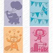 Cuttlebug Cricut Companion Embossing Folders 4/Pkg-Birthday Bash (2) 13cm x 18cm & (2) A2