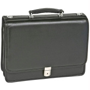 "McKlein  17"" River North Black Leather Triple Compartment Briefcase"