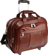 """McKlein 80714 17"""" Brown Damen Leather Detachable-Wheeled Notebook Case"""