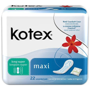 U by Kotex Security Maxi Pads, Long Super, 22 Ct