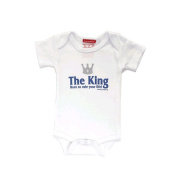 Silly Souls tt-53-12 The King- Born To Rule Your Life- 6-12 Month Bodysuit- White